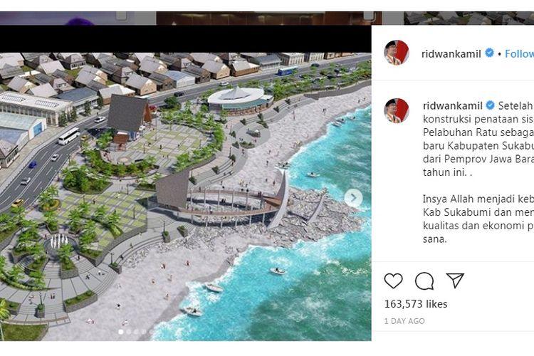 Desain baru Pelabuhan Ratu yang akan dipercantik oleh Ridwan Kamil dengan anggaran sekitar Rp 15 miliar.