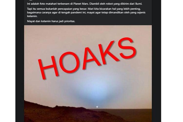 Tangkapan layar foto pemandangan matahari terbenam di Mars.