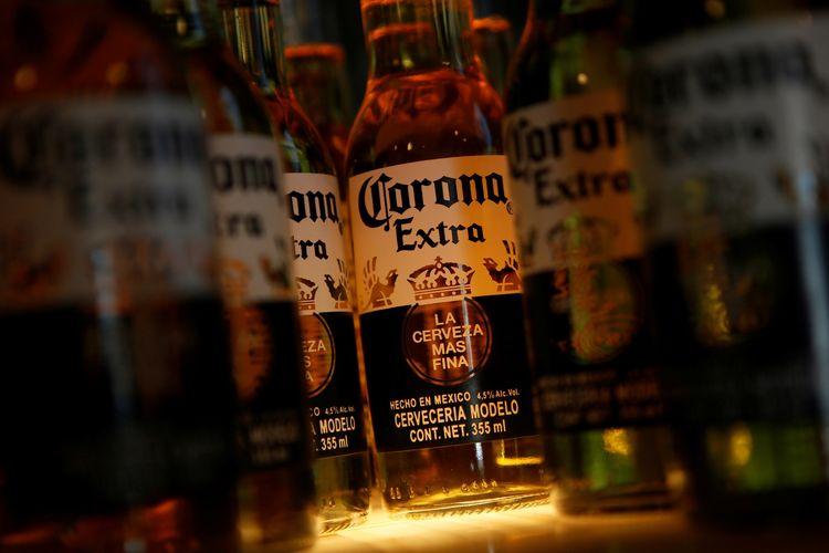 Botol bir Corona di sebuah restoran di Mexico City, Meksiko (27/1/2020).