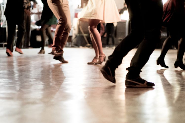 Dance hall with swing dancers