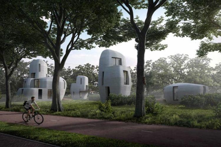 Rencana pembangunan perumahan dengan teknologi 3D di Eindhoven, Belanda.