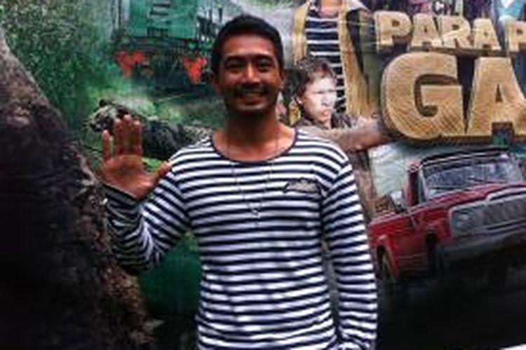 Yama Carlos hadir di jumpa pers film Para Pemburu Gajah, Kebun Binatang Ragunan, Jakarta Selatan, Kamis (5/6/2014).