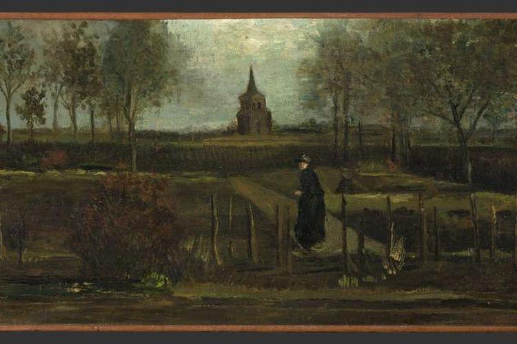 Tampilan lukisan Spring Garden karya Vincent van Gogh yang hilang dicuri di Museum Singer Laren, Belanda, Senin (30/3/2020).
