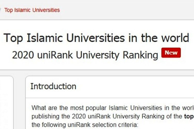 Top Islamic Universities in the world 2020 uniRank University Ranking (4ICU).