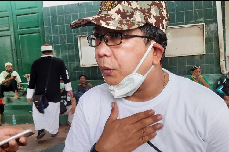 Korlap aksi 1812, Rijal Kobar di Tanah Abang, Jakarta Pusat, Jumat (18/12/2020)