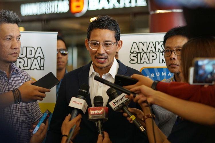 Calon wakil presiden nomor urut 02 Sandiaga Uno saat ditemui di Universitas Bakrie, Kuningan, Jakarta Selatan, Kamis (9/5/2019).