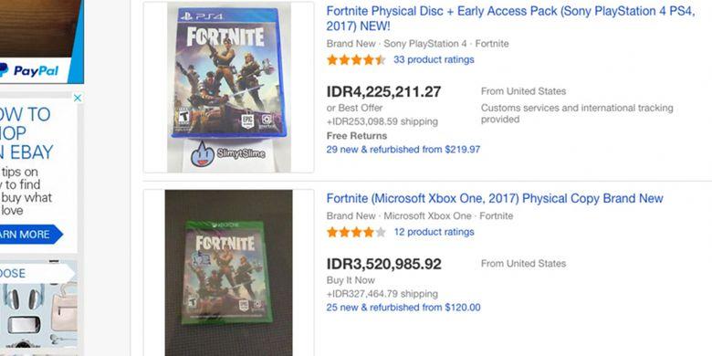 Sejumlah listing di eBay yang menawarkan game Fortnite edisi fisik untuk konsol PS4 dan Xbox One.