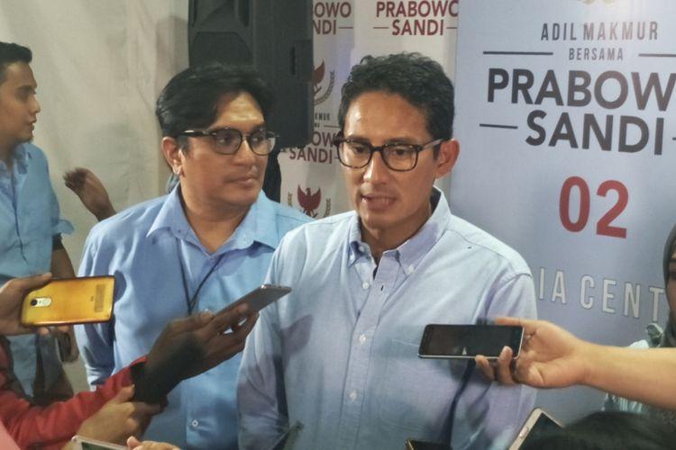 Calon wakil presiden nomor urut 02 Sandiaga Uno saat ditemui di media center pasangan Prabowo Subianto-Sandiaga Uno, Jalan Sriwijaya, Jakarta Selatan, Rabu (31/10/2018).