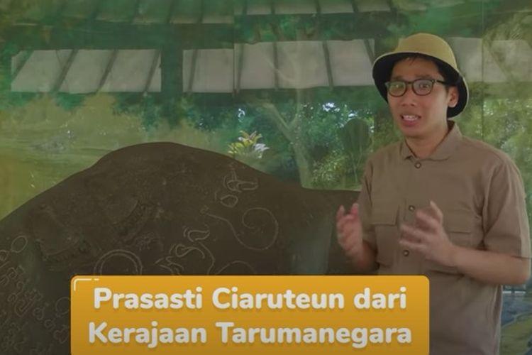 Tangkapan layar program Belajar dari Rumah TVRI 30 April 2020 Kelas 4-6 SD tentang Sejarah Tarumanegara.