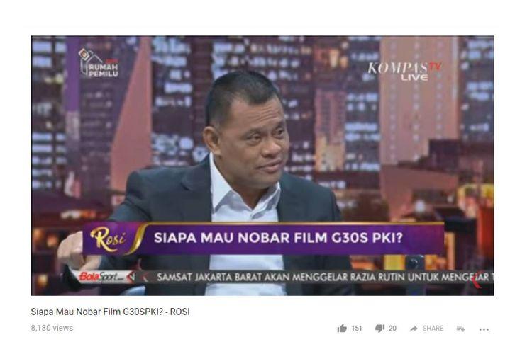 Mantan Panglima TNI Jenderal (Purn) TNI Gatot Nurmantyo saat menjadi narasumber di Talkshow Rosi yang ditayangkan Kompas TV, Kamis (27/9/2018) malam.