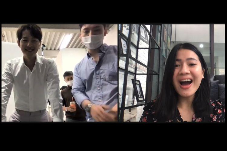Felicya Angelista berteriak histeris karena bisa video call dengan aktor Korea Song Joong Ki.