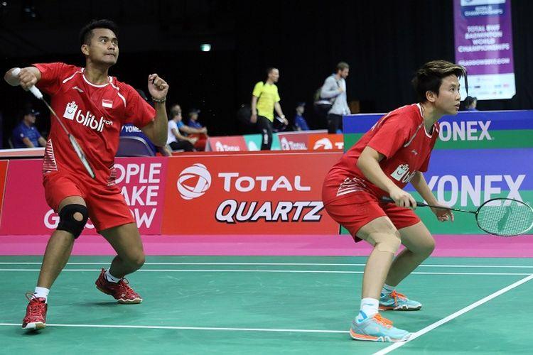 Pasangan ganda campuran Indoensia, Tontowi Ahmad/Liliyana Natsir, saat tampil pada laga Kejuaraan Dunia Bulu Tangkis 2017.