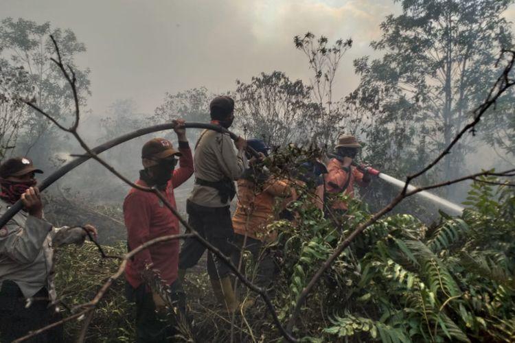 Upaya pemadaman karhutla di Kecamatan Rupat, Kabupaten Bengkalis, Riau, Jumat (23/2/2019).
