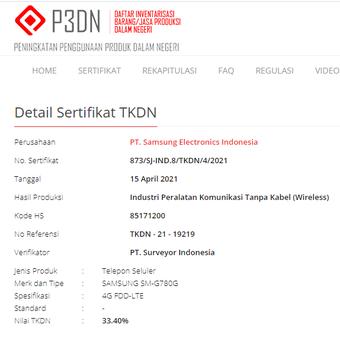 Tangkapan layar sertifikasi Samsung Galaxy S20 FE Snapdragon di situs TKDN.