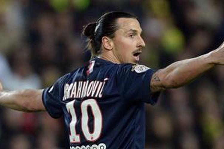 Zlatan Ibrahimovic gagal mencetak gol bagi PSG saat melawat ke kandang Nantes, Minggu (3/5/2015).