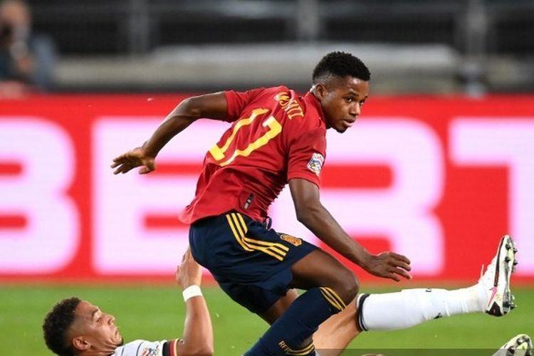 Pemain muda Barcelona, Ansu Fati, mencatatkan debutnya bersama timnas senior Spanyol kala melawan Jerman di pentas UEFA Nations League 2020.
