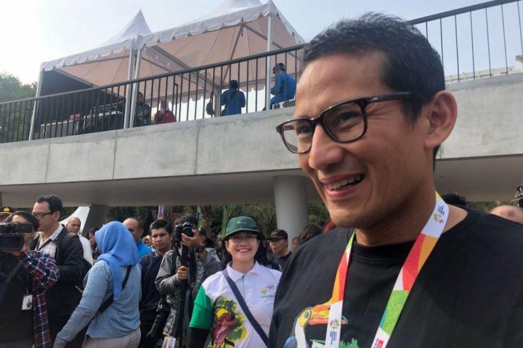 Wakil Gubernur DKI Jakarta Sandiaga Uno dalam pembukaan Pameran Flona di Lapangan Banteng, Jumat (10/8/2018).