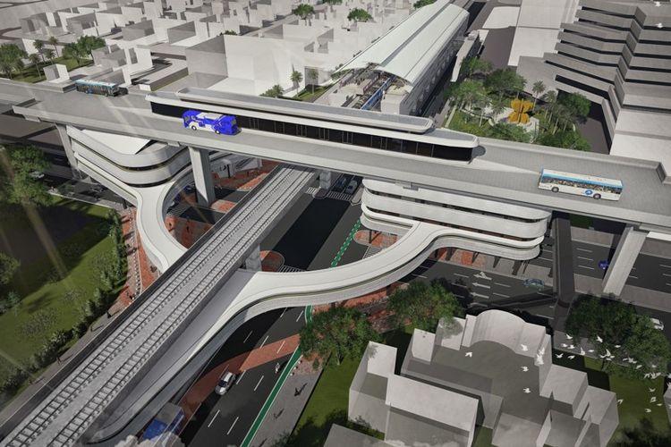 Desain jembatan layang (skybridge) penghubung Stasiun MRT ASEAN dan Halte Transjakarta CSW.