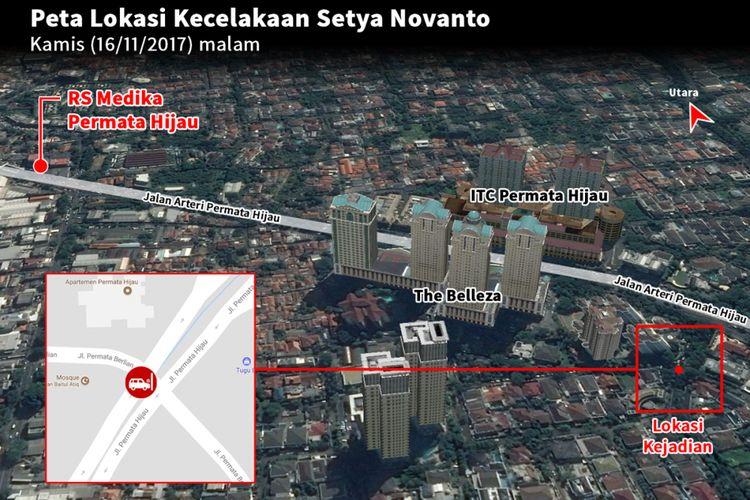 Lokasi kecelakaan Setya Novanto, Kamis (16/11/2017) malam.