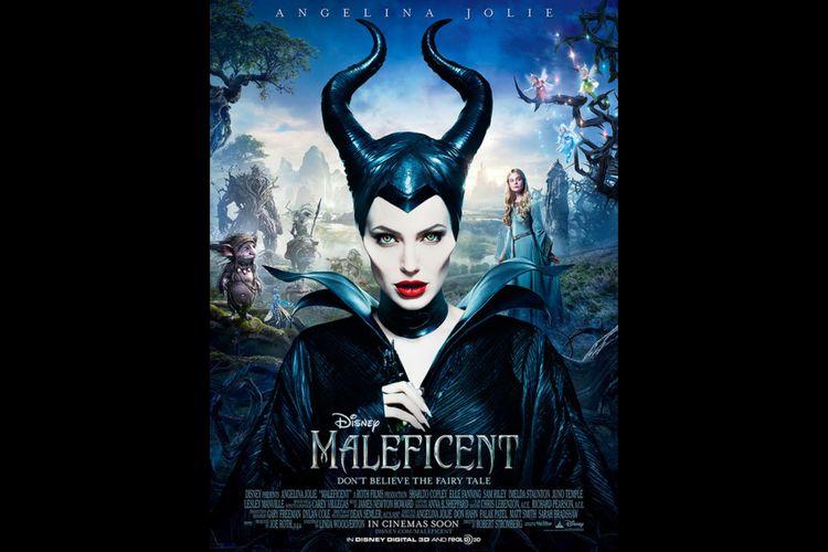 Poster film Maleficent (2014) dibintangi Angelila Jolie dan Elle Fanning.