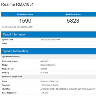 Tangkapan layar Geekbench yang disinyalir memperlihatkan spesifikasi Realme 3 Pro