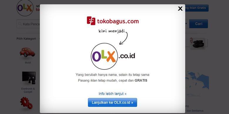 Tokobagus.com mulai Selasa (20/5/2014) berubah namanya menjadi OLX Indonesia