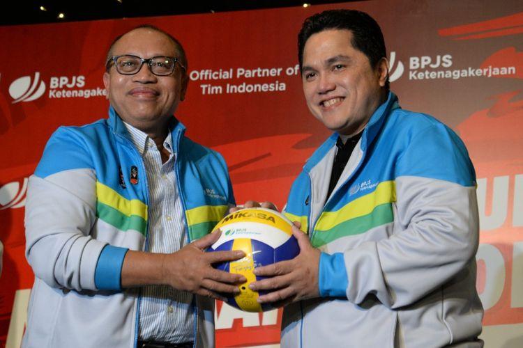 Direktur Utama BPJS Ketenagakerjaan Agus Susanto dan Ketua KOI Erick Thohir