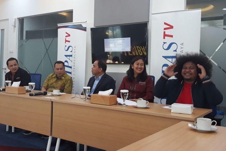 Konferensi pers Anugerah LSF 2018 dihadiri Komisioner LSF Rommy Fibri, komika Babe Cabiita, dan jajaran petinggi KompasTV di Menara Kompas, Jakarta Pusat, Kamis (18/10/2018).