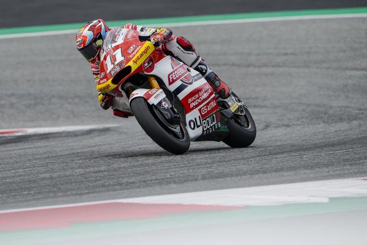 Nicolo Bulega saat berlaga pada Moto2 Austria 2021
