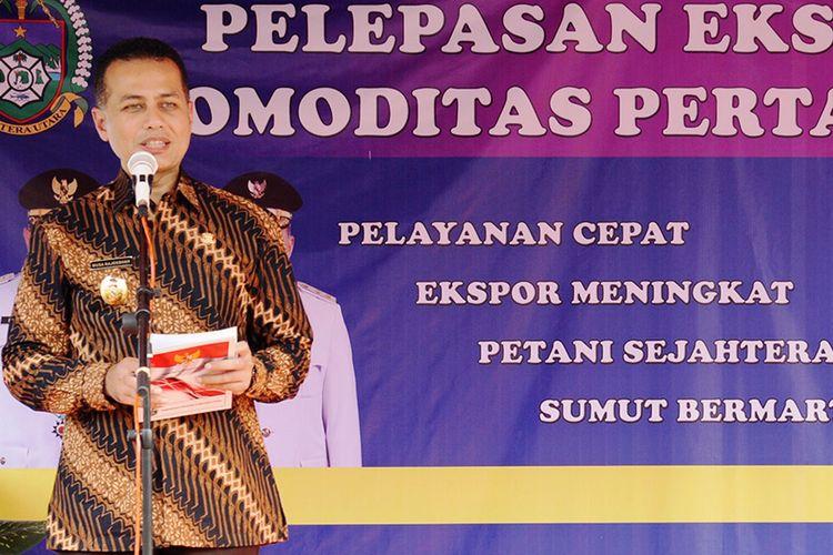 Wagub Sumut Musa Rajekshah melepas ekspor kopi sebesar 819,36 ton dan sejumlah komoditas pertanian lainnya di lokasi pabrik PT Sari Makmur Tunggal Mandiri, Selasa (26/3/2019)