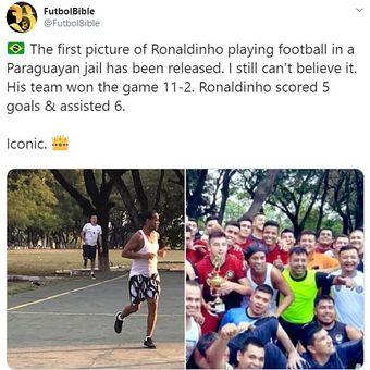 Gambar Ronaldinho bermain futsal di penjara.
