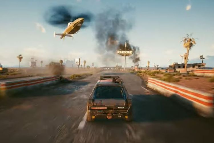 Ilustrasi mengendarai mobil di Cyberpunk 2077.