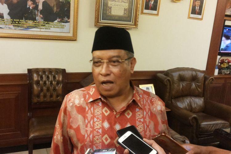 Ketua Umum Pengurus Besar Nahdlatul Ulama (PBNU) Said Agil Siradj saat ditemui di kantornya, Jalan Kramat Raya, Jakarta Pusat, Selasa (14/3/2017).