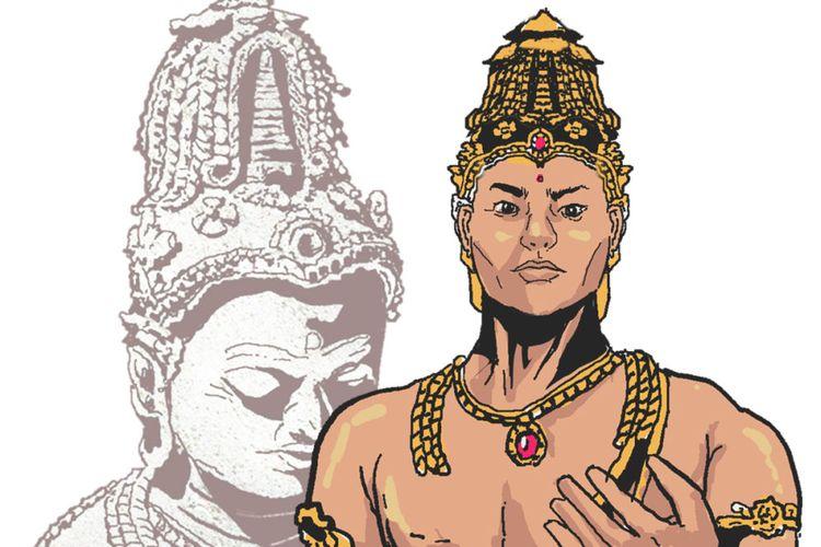 Ilustrasi Raja Sri Jayanasa, dibuat dengan acuan patung peninggalan Kerajaan Sriwijaya