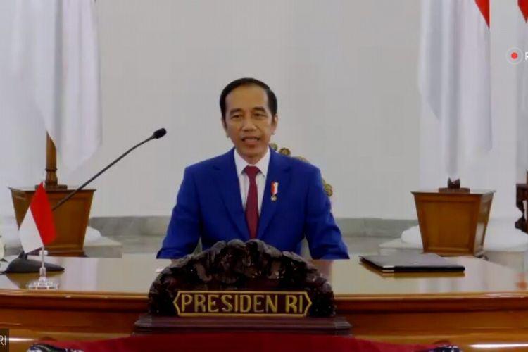 Presiden RI Joko Widodo saat membuka secara resmi kegiatan Konvensi Kampus XVI dan Temu Tahunan XXII Forum Rektor Indonesia (FRI) 2020 yang digelar secara virtual, Sabtu (4/7/2020).