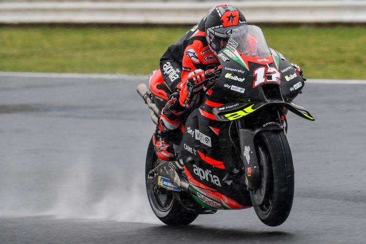 Maverick Vinales saat berlaga pada MotoGP San Marino 2021. (Photo by ANDREAS SOLARO / AFP)