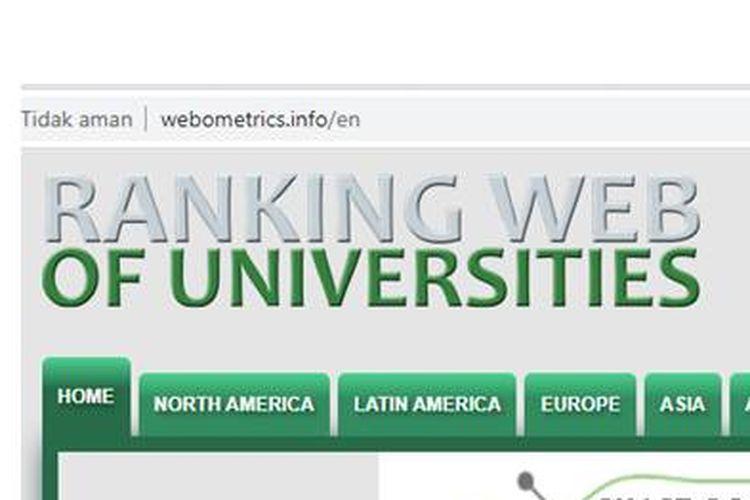 Tangkapan layar website Webometrics edisi Juli 2020
