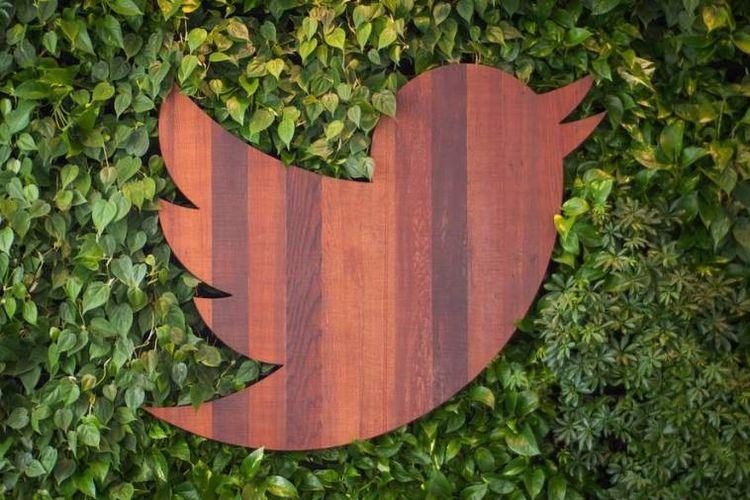 Ilustrasi Logo Twitter dengan nuansa hijau dan kayu