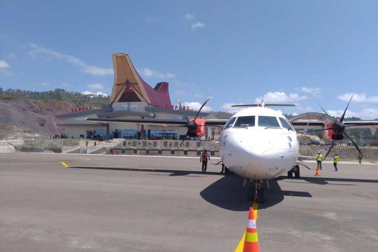 Maskapai Wings Air melakukan uji coba dan berhasil mendarat perdana di bandara baru Buntu Kunik, Tana Toraja, Sulawesi Selatan, Kamis (20/8/2020).