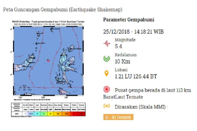 Peta guncangan gempa Ternate Selasa (25/12/2018)
