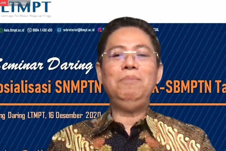 Ketua Pelaksana LTMPT Budi Prasetyo saat ditemui dalam acara Sosialisasi SNMPTN dan UTBK-SBMPTN 2021.