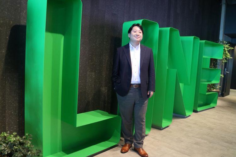 Director and CSMO Line Corporation Jun Masuda berpose di kantor Line Japan, Tokyo, Jepang, Jumat (29/6/2018).