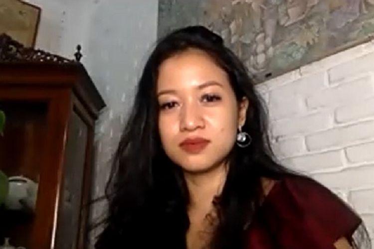 Pasien 01 Covid-19 Sita Tyasutami dalam sebuah wawancara khusus dengan Kompas.com melalui aplikasi Zoom pada Senin (1/3/2021) malam.