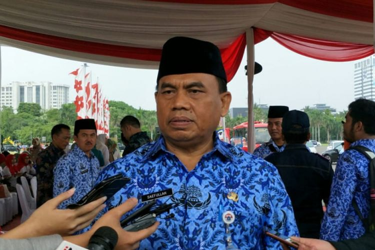 Sekretaris Daerah DKI Jakarta Saefullah di kawasan Monas, Jakarta Pusat, Rabu (26/12/2018).
