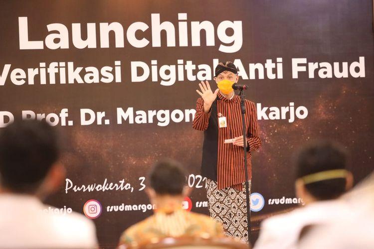 Gubernur Jawa Tengah (Jateng) Ganjar Pranowo saat menghadiri launching aplikasi anti-fraud yang diluncurkan Rumah Sakit Umum Daerah (RSUD) Margono Soekarjo Purwokerto.