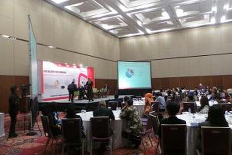 Acara 8th Indonesia Mice Outlook 2016 di Indonesia Convention Exhibition, Tangerang, Banten, Selasa (1/12/2015).