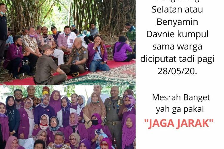 Sebuah foto Wakil Wali Kota Tangerang Selatan, Benyamin Davnie melanggar protokol kesehatan dengan tidak menjaga jarak, viral di jejaring pesan singkat. Foto tersebut terjadi saat Benyamin menghadiri halalbihalal di kawasan Jombang, Ciputat, Tangerang Selatan, Kamis (28/5/2020)