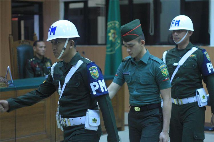 Prada DP ketika menjalani sidang di Pengadilan Militer I-04 Palembang, Selasa (13/8/2019).