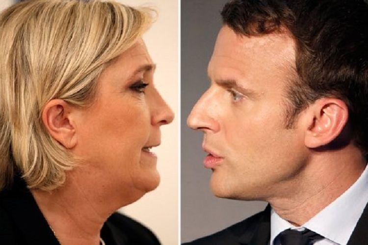 Kandidat presiden Perancis putaran kedua pada 7 Mei 2017,  Marine Le Pen (kiri) dan Emmanuel Macron (kanan).