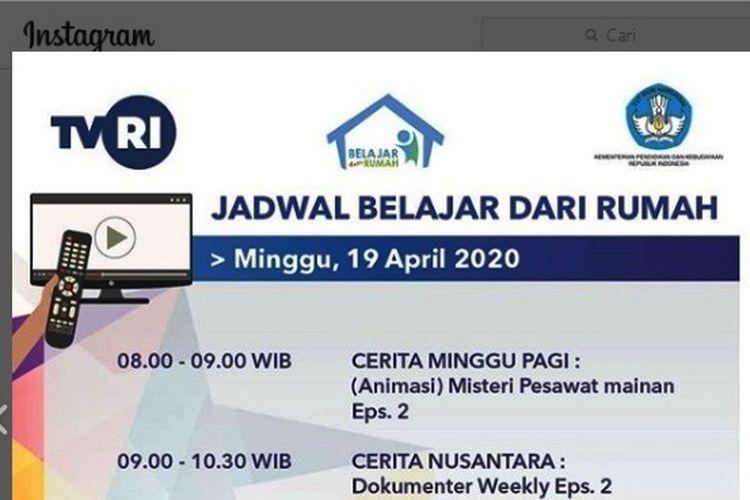 Tangkapan layar jadwal Belajar dari Rumah di TVRI 19 April 2020.